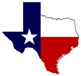 texas flag on texas outline